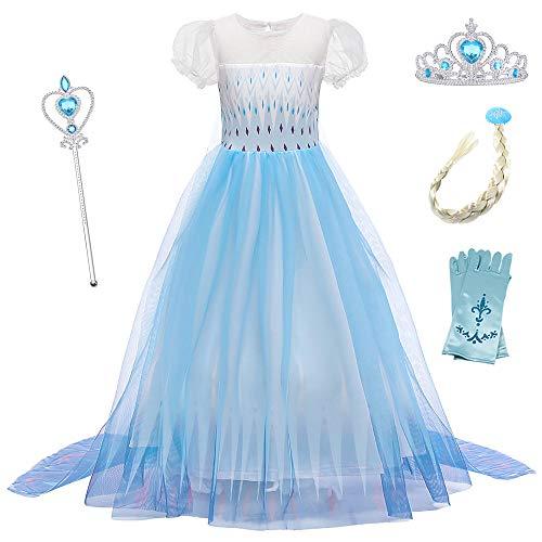 O.AMBW Disfraces con Accesorios Vestido de Princesa con Capa Larga Manga Puff Disfraz de Frozen Azul Cosplay de Princesa Violeta Fiesta Carnaval Halloween Regalo Cumple Niñas 2-12 años