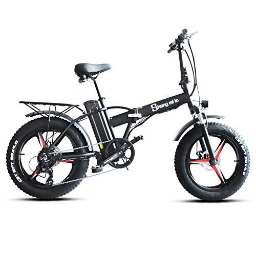 Shengmilo Bicicleta eléctrica MX20-PLUS 500W, Bicicleta eléctrica Plegable de una Rueda de 20 Pulgadas, Fat Tire Ebike, 48V 15AH, ebike