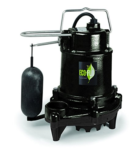 ECO-FLO Products EFSA33 1/3 hp 3160 gph Cast Iron Sump Pump with Vertical Switch, Black