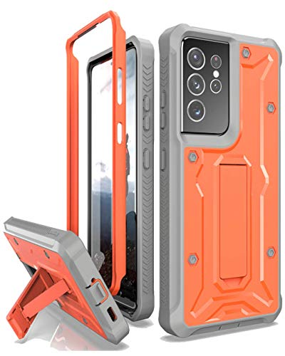 ArmadilloTek Vanguard Compatible with Samsung Galaxy S21 Ultra Case, Military Grade Full-Body Rugged with Built-in Kickstand [Screenless Version] - Orange