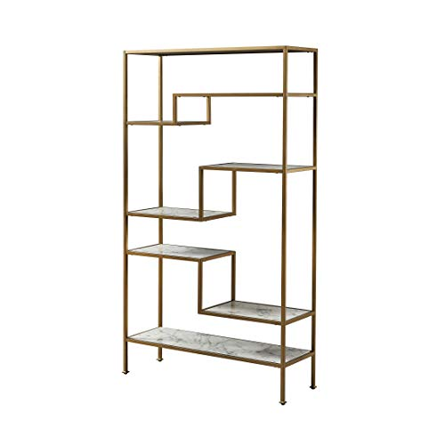 Versanora Marmo Large 5-Tier Display Etagere Bookcase Bücherregale, Kunstmarmor/Messing, 101.6x34.29x182