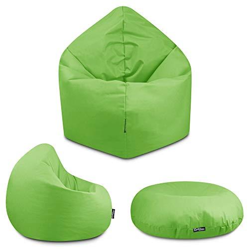 2in1 Sitzsack Bodenkissen Outdoor Sitzsäcke Indoor Beanbag in 32 Farben & 3 Größen wählbar Sitzkissen Kinder Yoga Kissen Erwachsene Schule Kindergarten (Kiwigrün-145 cm)
