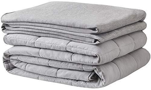 Degrees of Comfort Cotton King Weighted Blanket Adult w/ Cool Nylon Duvet Cover for Hot Sleepers   Silky Calming Comfort w/ Glass Beads   for One Person or Sharing, Queen King Bed 80x87 25lbs Grey