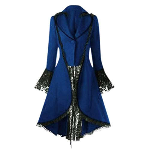 Women's Steampunk Gothic Vintage Jacket Victorian Tailcoat Long Trench Coat Jacket Halloween Costume Blue