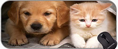 Juego extendido Almohadilla de ratón Grande, Perrito Pup Pey Dog Dog and Cat Mouse Pads con Bordes cosidos