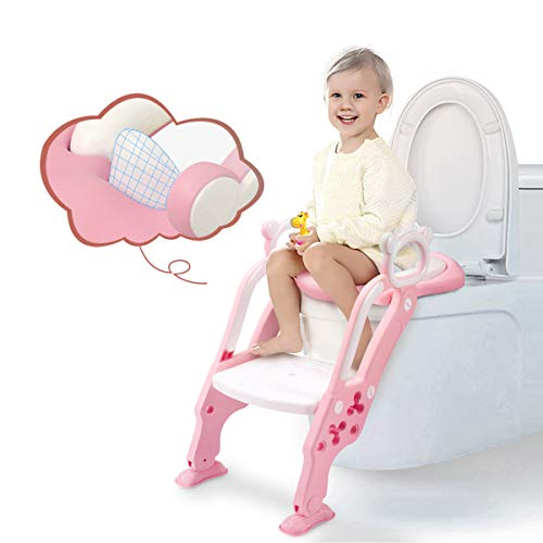 GrowthPic Toddler Toilet Training Seat Ladder with Sturdy Non-Slip Wide Step and Soft Cushion for Girls with Splash Guard(New)