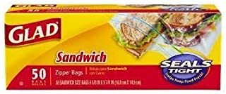 Glad Food Storage Zipper Sandwich Bags 50 Count Box (Pack of 3)