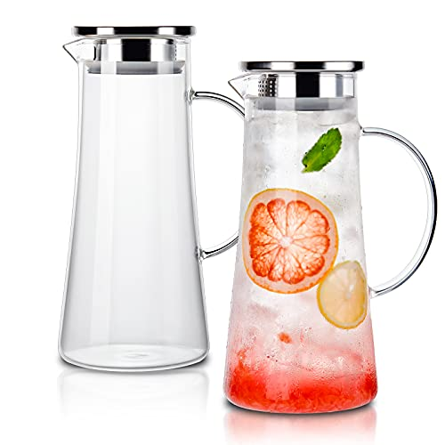 CREATIVELAND 1.4 Liter 47 Ounces High Borosilicate Glass Carafe/Pitcher Set of 2 with Stainless Steel Flip-top Lid,Hot/Cold Water Jug,Juice/Iced Tea,Wine,Coffee,Milk Beverage Carafe.