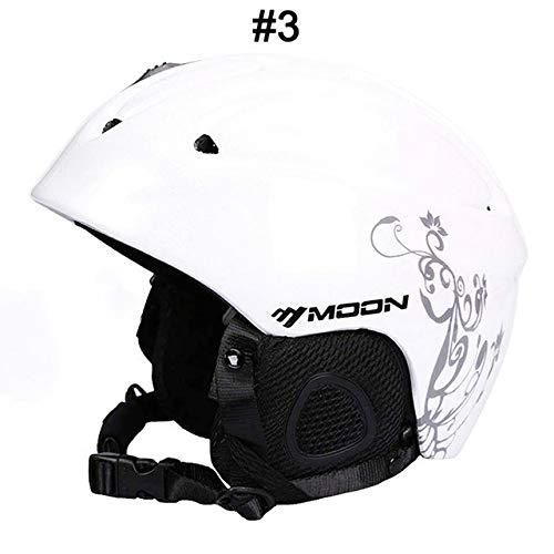 IAMZHL Skihelm Integrierter geformter Skihelm für Erwachsene und Kinder Schneehelm Skateboard Ski Snowboard Helm-White Gray Flower-1-M