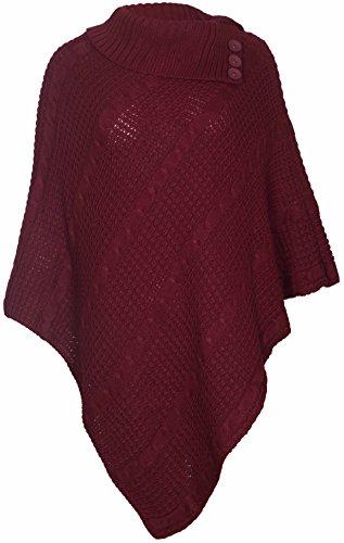 Purple Hanger - Damen Poncho Lang Gestrickt Rollkragen Umhang, Rot, EU 52-54
