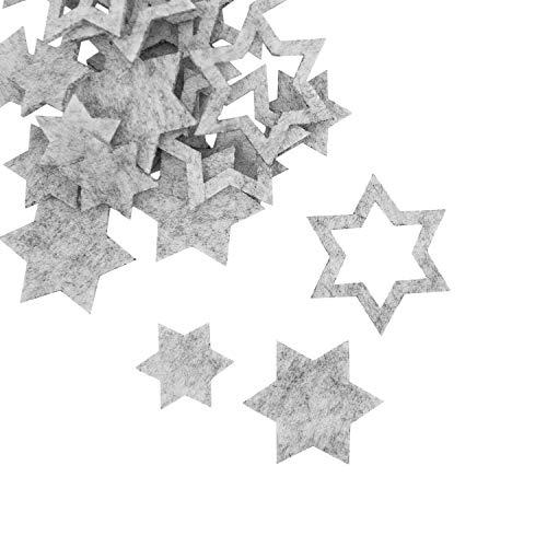 Oblique Unique® 24 Filz Sterne Weihnachtsdeko Tischdeko Weihnachten Deko 3 Motive - Farbe wählbar (Weissgrau)