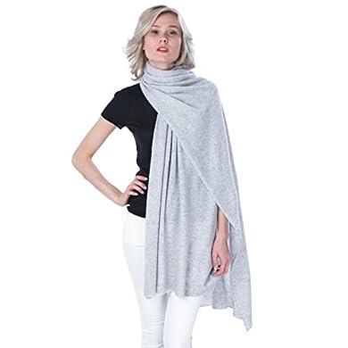 100% Cashmere Sweater Knit Wrap Shawl Stole Travel Wrap Black