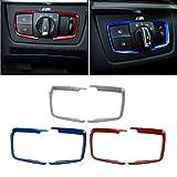 VOSAREA Car Interior Headlight Interruttore Trim Frame Head Lamps Button Frame Cover Trim Decorazione Auto Sticker per BMW F30 F31 F32 F34 3 4 CAD Compatibile Solo con BMW Serie 3 (Argento)