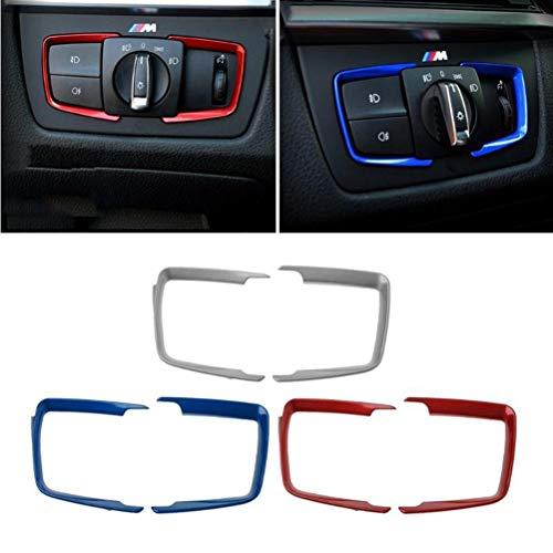 VOSAREA Autoinnenscheinwerfer Schalter Trim Rahmen Kopf Lampen Taste Rahmenabdeckung Trim Auto Dekoration Aufkleber für BMW F30 F31 F32 F34 3 4 CAD Kompatibel nur mit BMW 3er(Silber)