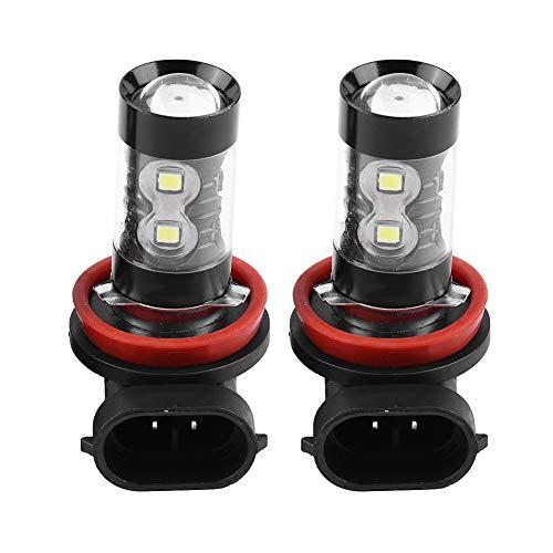 Qiilu 2 pièces H8 H11 12V-24V 50W Ampoule de Brouillard de voiture,Projecteur Antibrouillard à LED Haute Puissance Jour Ampoules 6000K 850LM