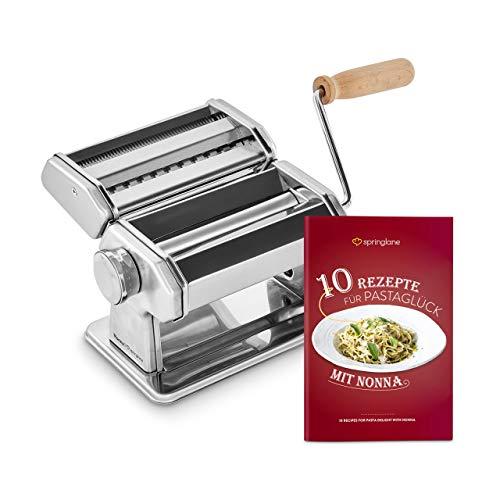 Manuelle Nudelmaschine Nonna, Edelstahl, Pastamaker inkl. Rezeptheft, Nudeltrockner & 3 Schneideaufsätze für Spaghetti, Lasagne, Tagliatelle - Silber