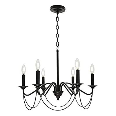 BONLICHT Black Farmhouse Chandelier 6 Lights Rustic Small Pendant Lighting Industrial Dining Room Light Fixture Hanging Candle Style Ceiling Light Fixture for Kitchen Island Foyer Living Room Bedroom