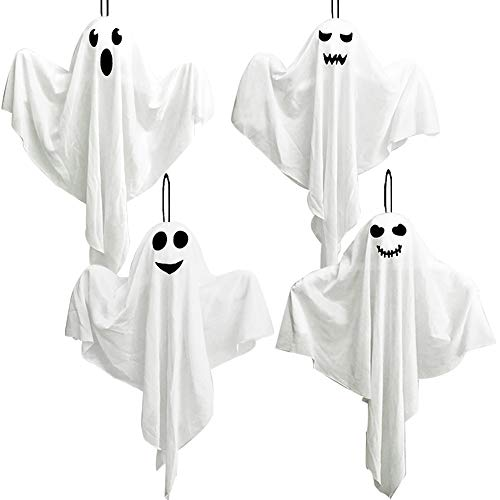4 Pack Halloween Hanging Ghosts, 27.5' Cute Flying Ghost Decorations for Front Yard Patio Lawn Garden Party Décor and Holiday Decorations