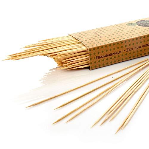 bambuswald© umweltfreundliche Schaschlikspieße aus Bambus - jeweils 250 Stück - (15 20 25 30 & 40 cm Länge) - umweltfreundliche Spieße bzw. Grillspieße für Fingerfood, Burger, Gemüsespieße! 100% Natur