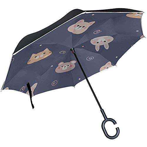 Alice Eva Umgekehrter Regenschirm Regenschirm Umgekehrtes warmes Herz Lustiges Tier Haustier Katze Klappschirm Stuhl Klappstühle mit Regenschirm