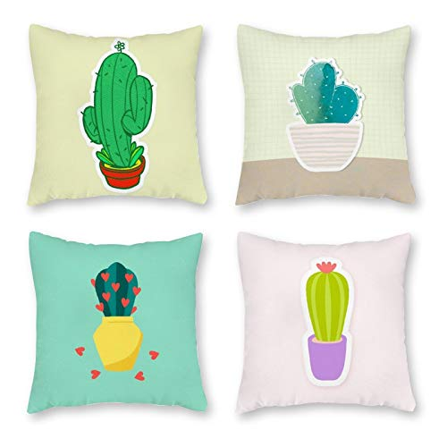 Juego de 4 fundas de cojín decorativas, bonitos dibujos animados, cactus, cojín para salón, sofá, oficina, decoración, funda de cojín para dormitorio, sofá, cremallera invisible, 18 x 18 pulgadas
