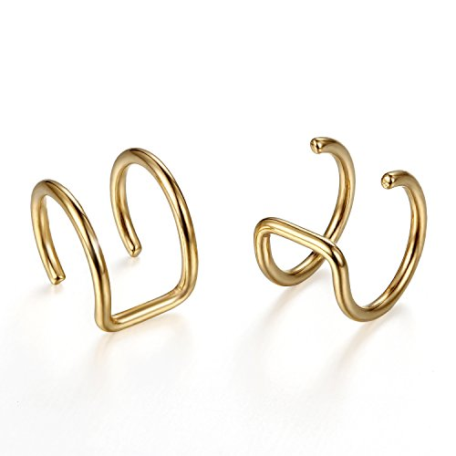 Flongo Edelstahl Ohrringe Ohrstecker Ohrclip Ohrklemme Non Piercing Fake Captive Ring Ohrpiercing Helix Cartilage Knorpel Piercing Gold Golden Herren, Damen