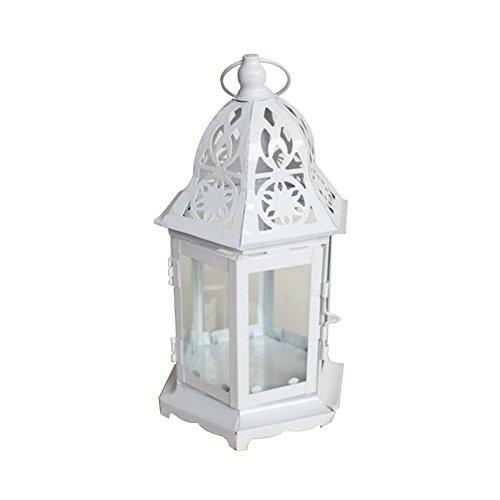 MoGist Portavelas Continental creativo, elegante, de cristal, farolillo de hierro, farolillo de mesa, decoración del hogar, boda, decoración de mesa (blanco)