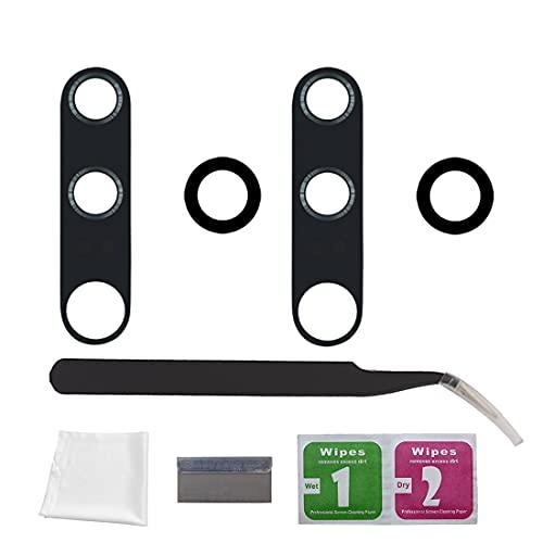 Eonpam 2 paquetes Reemplazo Cristal Lente Vidrio Cámara Trasero para (Xiaomi Mi Note 10/Note 10 Pro) Calidad Original,Con kit de reparación profesional