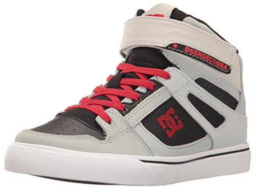 DC Kids Youth Spartan High EV Skate Shoes Sneaker, Grey/Black/Red, 5 M US Little Kid