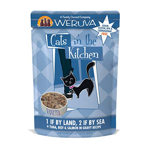 Weruva Cats in the Kitchen Grain-Free Natural Wet Cat Food Pouches, 1 If By Land, 2 If By Sea, 3-Ounce Pouch (Pack of 12)