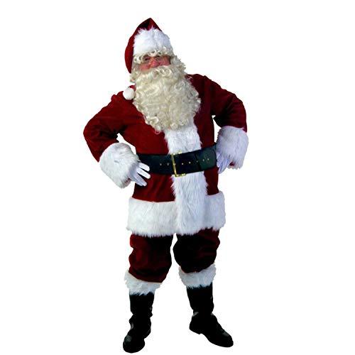 ZKOO Adulte Déguisement de Pere Noel en 10 pièces Déguisement Complet de Père Noël Costume Cosplay Vetement Habit Rouge pour Hauteur 175-190cm