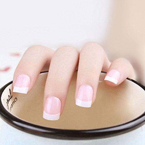 Jovono - Unghie finte con punte french naturali, opache, colore Medium Pink