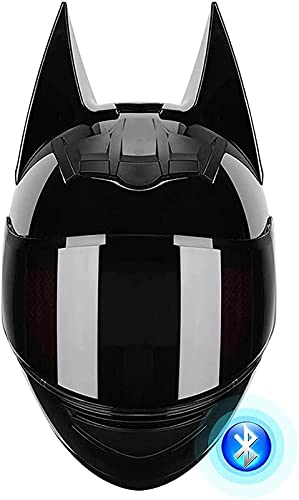 Casque Intégral Bluetooth Batman Tout-Terrain, Casque De Moto Intégral Certifié DOT, Noir, Cool, Vélo...