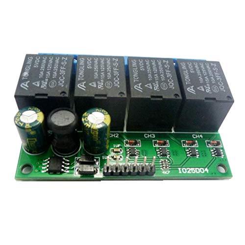DealMux 4Ch Dc 6V-24V Módulo de relé de bloqueo flip-flop Interruptor electrónico de autobloqueo biestable Botón de placa de Ser de liberación de impulsos bajos Mcu Io Control