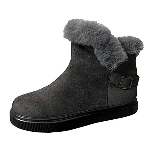 Briskorry Botas de invierno para mujer, cálidas, forradas, botas de nieve, botas de caña corta, elegantes, botines de invierno, impermeables
