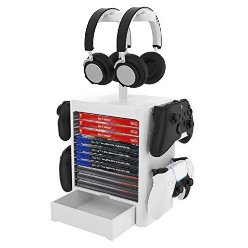 Multifunktionale Spiel Disk Storage Turm Halter, Abnehmbare Joystick-Konsole Vertikale Ständer Und Kopfhörer Lagerregal