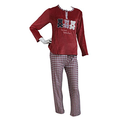 FERETI (L Pijama Mujer Rojo Azul Terciopelo Osos Otoño Oso Panda Animales Invierno Flanelado Polar Conjunto
