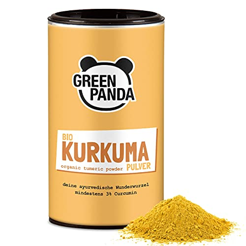 GREEN PANDA® Curcuma in polvere Bio   Curcuma Bio di altissima qualità testata e certificata   Perfetta per il golden milk   170g