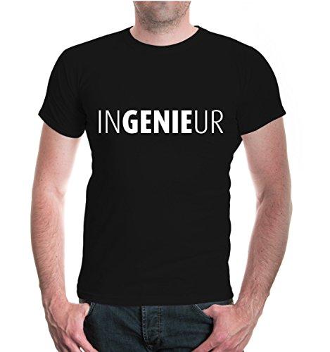 buXsbaum® Herren Unisex Kurzarm T-Shirt bedruckt Ingenieur | Genie Technik Studium | L black-white Schwarz