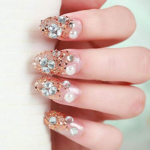 TJJF 24Pcs / Boxed Back With Glue Pre Design With Golden Luxury Strass Flower Bride Nail Tips Oval Head Full Cover False Nails