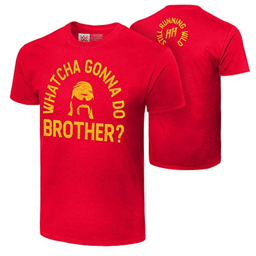 WWE Hulk Hogan What's cha Gonna Do Brother ? T-shirt authentique., mixte adulte Homme, Rouge, X-Large