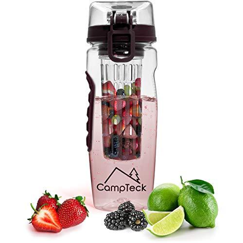iGadgitz CampTeck U4276 1 Liter 1000ml Flasche Obst Schorren Infuser Wasserflasche (BPA-freier Tritan Kunststoff) mit auslaufsicherem Deckel, Verschluss und Tragegriff - Schwarz