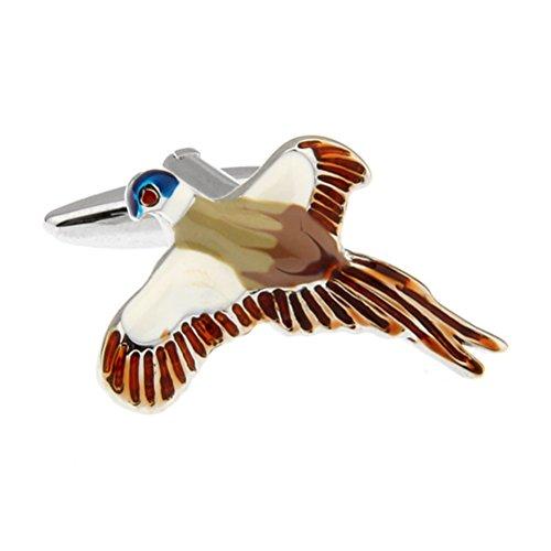 Faisan en vol Boutons de manchette de prise de vue Fly Blanc Marron Blue Bird Boutons de manchette