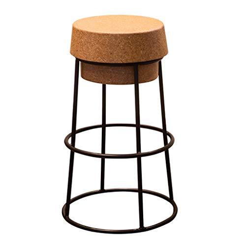 Sgabelli da Bar Sedia Sedia caffè caffè Bancone Home Pub Altezza Seduta Rotonda in Sughero Base in Metallo Nero con poggiapiedi Modern Creative