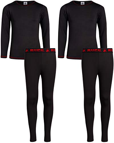 Beverly Hills Polo Club Boys 4-Piece Performance Thermal Underwear Set (2 Full Sets), Black/Red, Size Medium (8/10)'