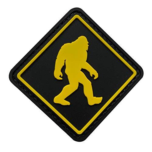 uuKen Bigfoot Walks Hide and Seek Military Tactical Funny Morale Patch I Believe Hook Fastener Backing (Black Background)