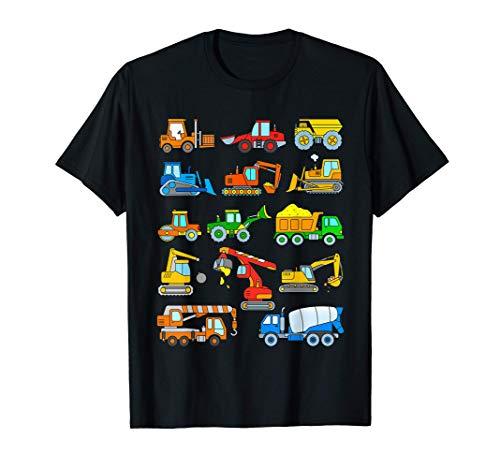 Vehículos Construcción Excavadora Camion Bulldozer Niños Camiseta
