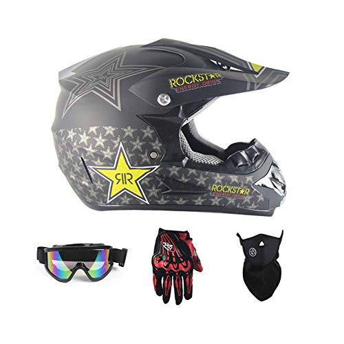 LEENY Motocross Helm Herren Crosshelm mit Brille Handschuhe Maske Vier Jahreszeiten Unisex, Motorradhelm DH Enduro Quads Motorrad Offroad-Helm für Erwachsene Männer Frauen,Matte/Black,XL