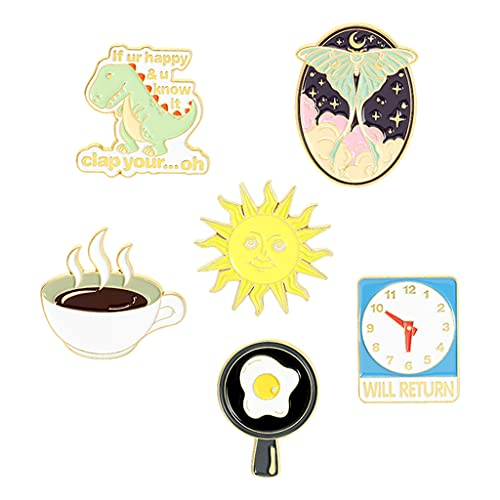 SDENSHI Adorabili Spille Smaltate caffè Sole Divertente Spilla Borsa Vestiti Spilla per Bambini
