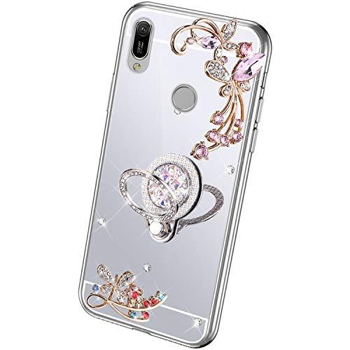 QPOLLY Cover Brillantini Compatibile con Huawei Y6 2019(US)/Honor 8A Specchio Cover, Bling Glitter Strass Diamantes Custodia con Supporto ad Anello Slim Morbida Silicone Gel TPU Cover,Argento
